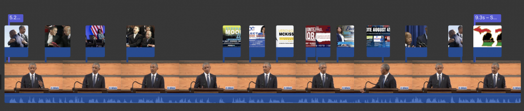 Campaign video created with iMovie uses a short clip of President Obama's eulogy interlaced with the candidates clips.