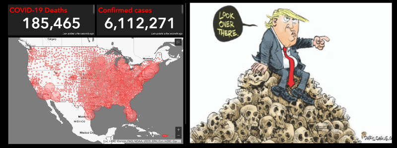 Death Counter app uses data from John Hopkins University to provide a realtime dashboard of the number of Americans infected or dead from the Coronavirus.