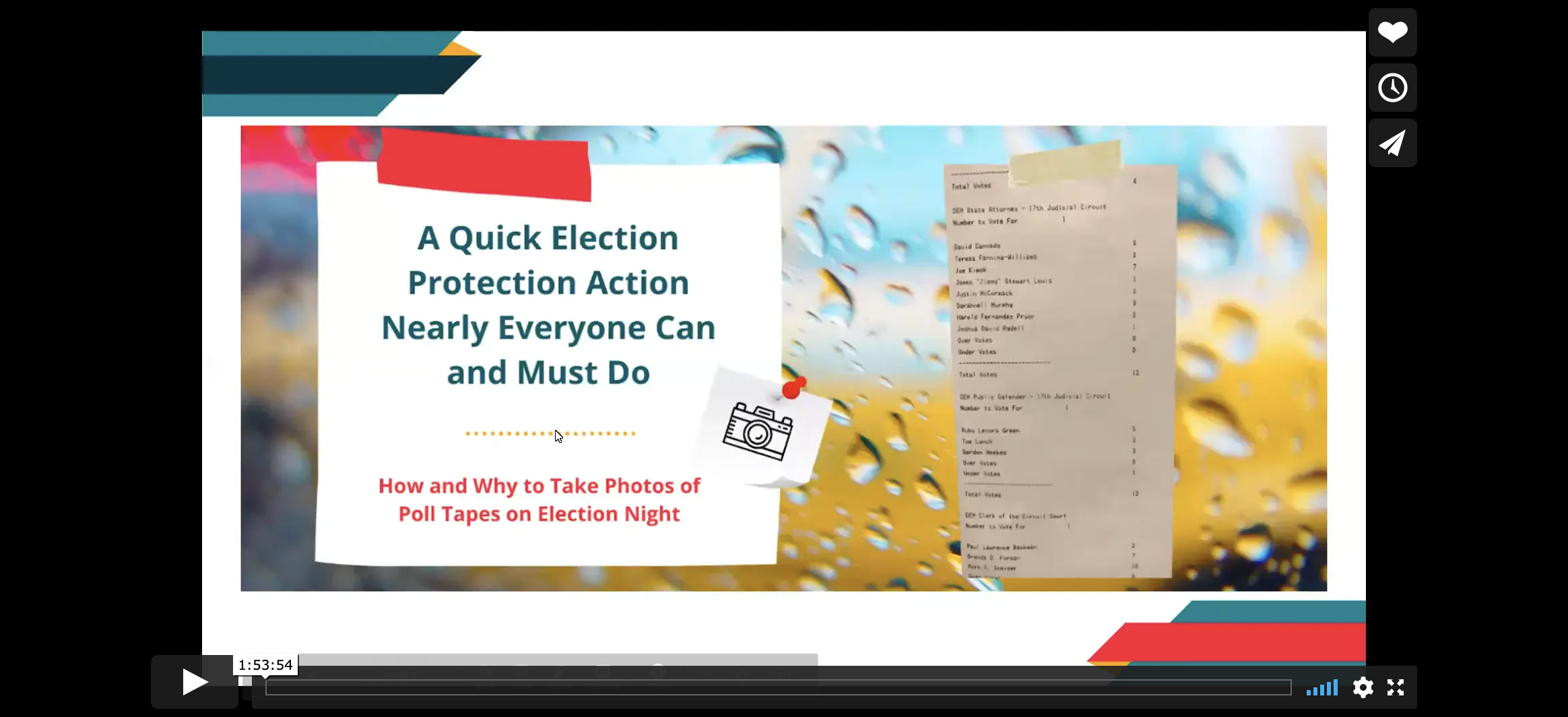 Scrutineers video training on election protection by taking photos of poll tapes on election night.