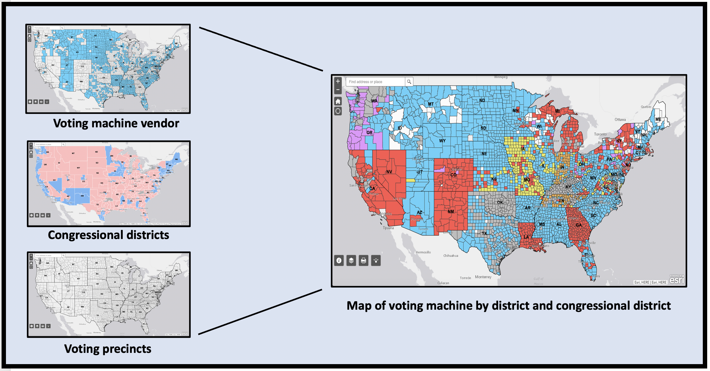 Map of voting machines by district and congressional rep.