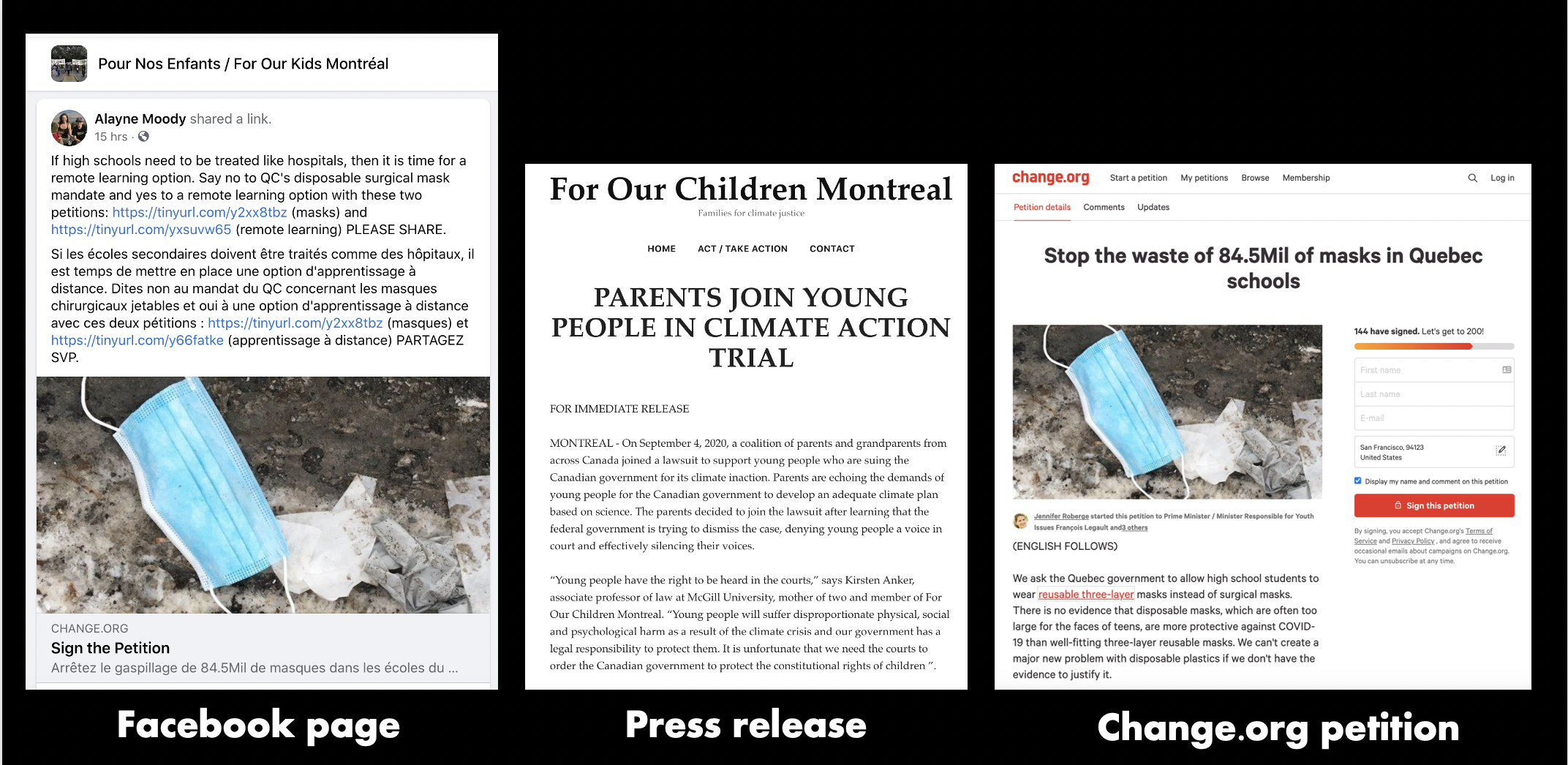 For Our Children created a Facebook Page, press release and Change.org petition drive to collect signatures.