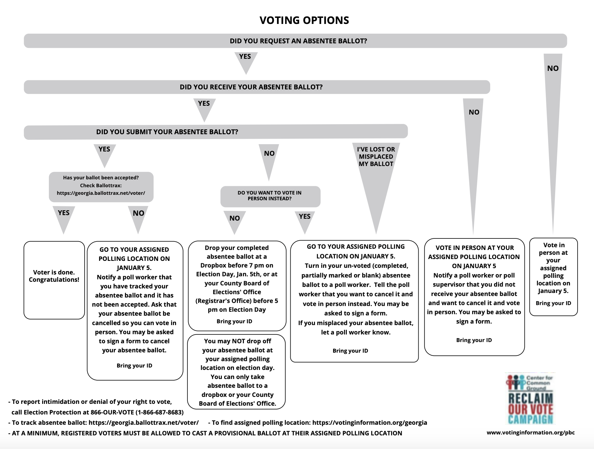 Voting options guide for Georgia Voters from Reclaim Our Vote.