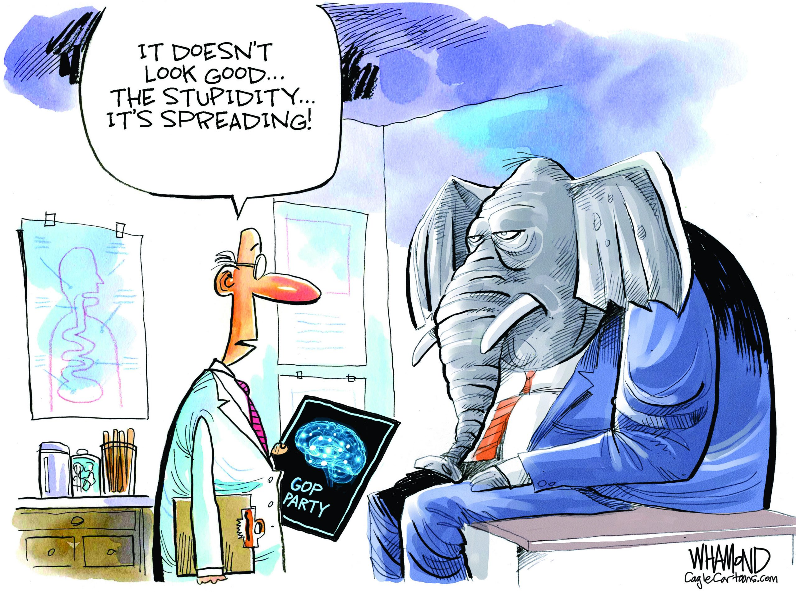 GOP Stupidity. Dave Whamond.