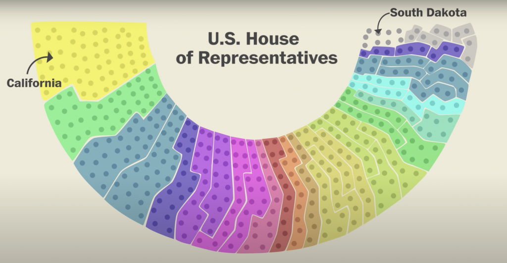"""The process of re-drawing district lines to give an advantage to one party over another is called """"gerrymandering"""". Washington Post"""