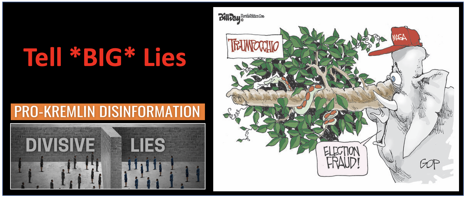 """A big lie is a propaganda technique to spread a lie so """"colossal"""", no one would believe that anyone """"could have the impudence to distort the truth so infamously"""". Big lies have big divisive power."""