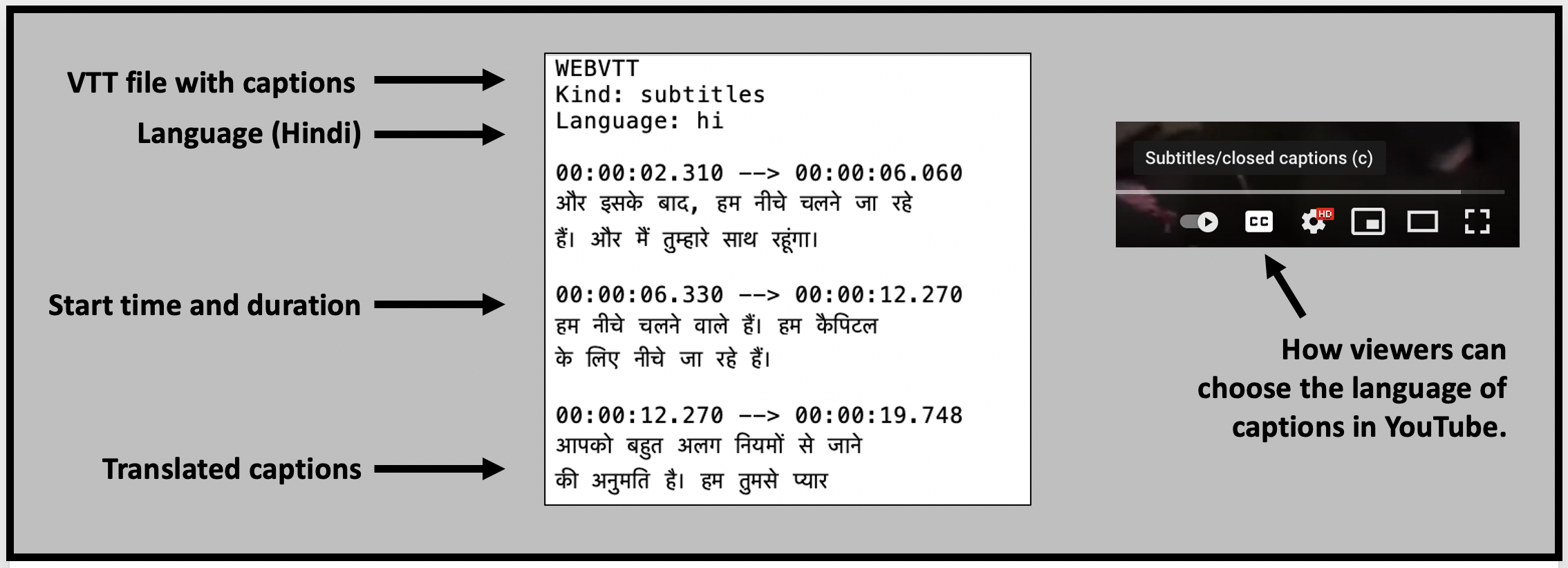 Web Video Text Tracks (WebVTT) files contain supplementary information about a web video, including subtitles, captions, descriptions, chapters, and metadata.