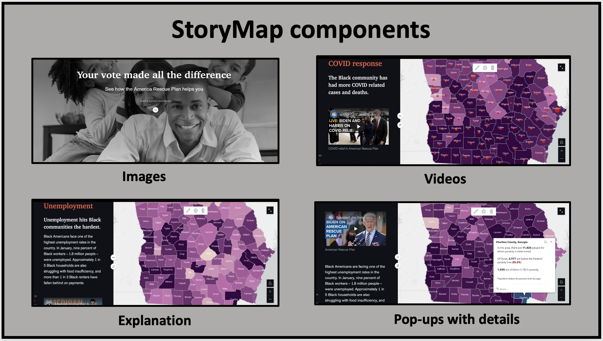 A StoryMap adds context to a map with text, images and videos.