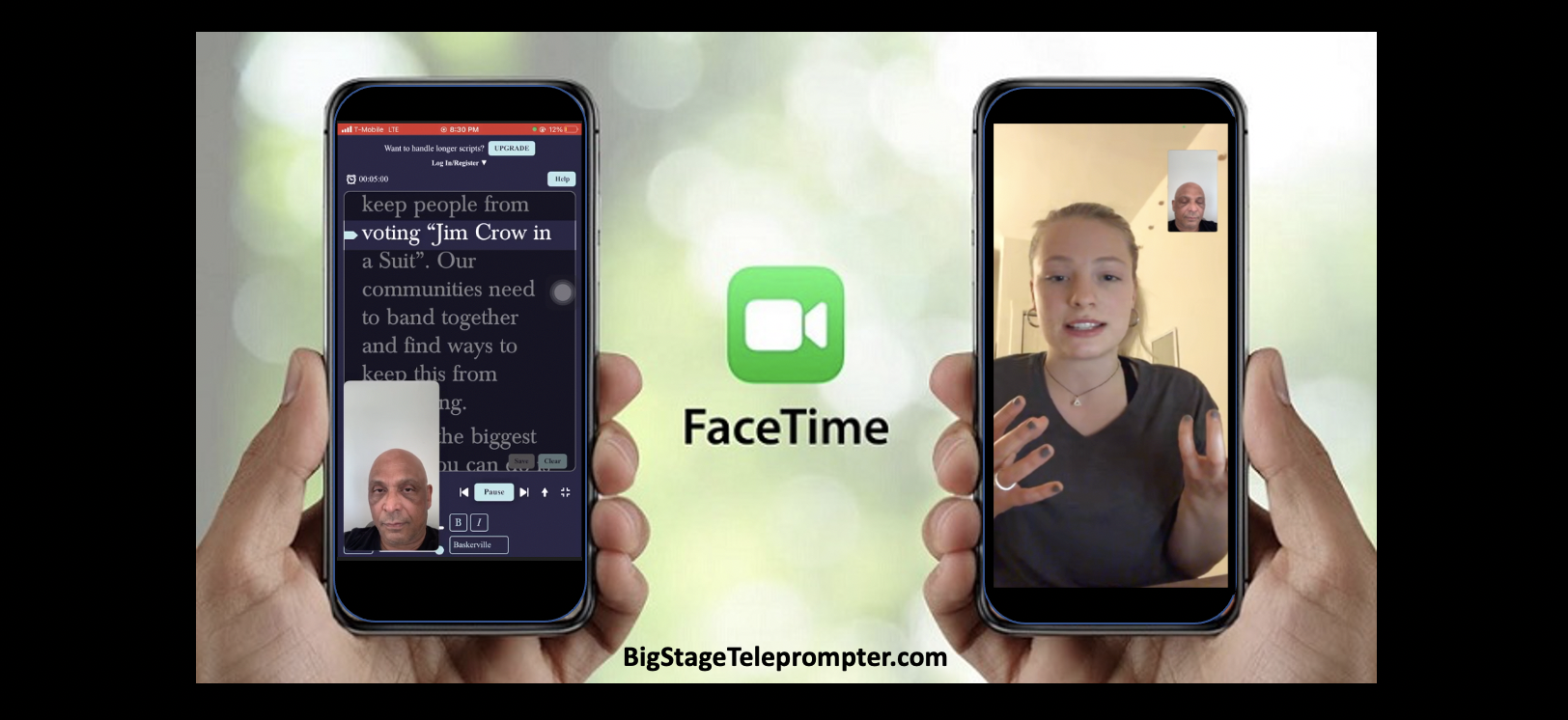 Activists canvas for HR For The People Act over FaceTime with the fre e BigStage Teleprompter app