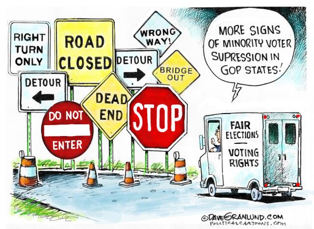 HINDERS, BLOCK, DENY VOTING, MINORITIES,BLACK, ELDERLY, MAIL IN, ABSENTEE, REPUBLICANS, JIM CROW