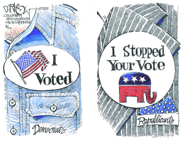 VOTE SUPPRESSION, REPUBLICANS, VOTER, I VOTED STICKER, DEMOCRATS