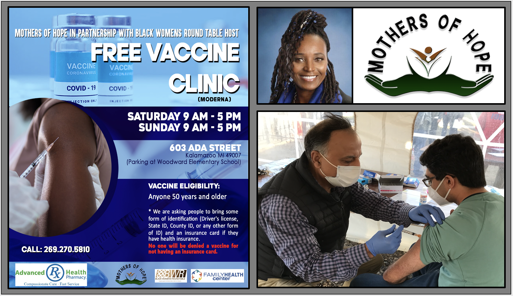 Mothers of Hope organized a free COVID vaccination clinic that vaccinated almost 2,000 people.