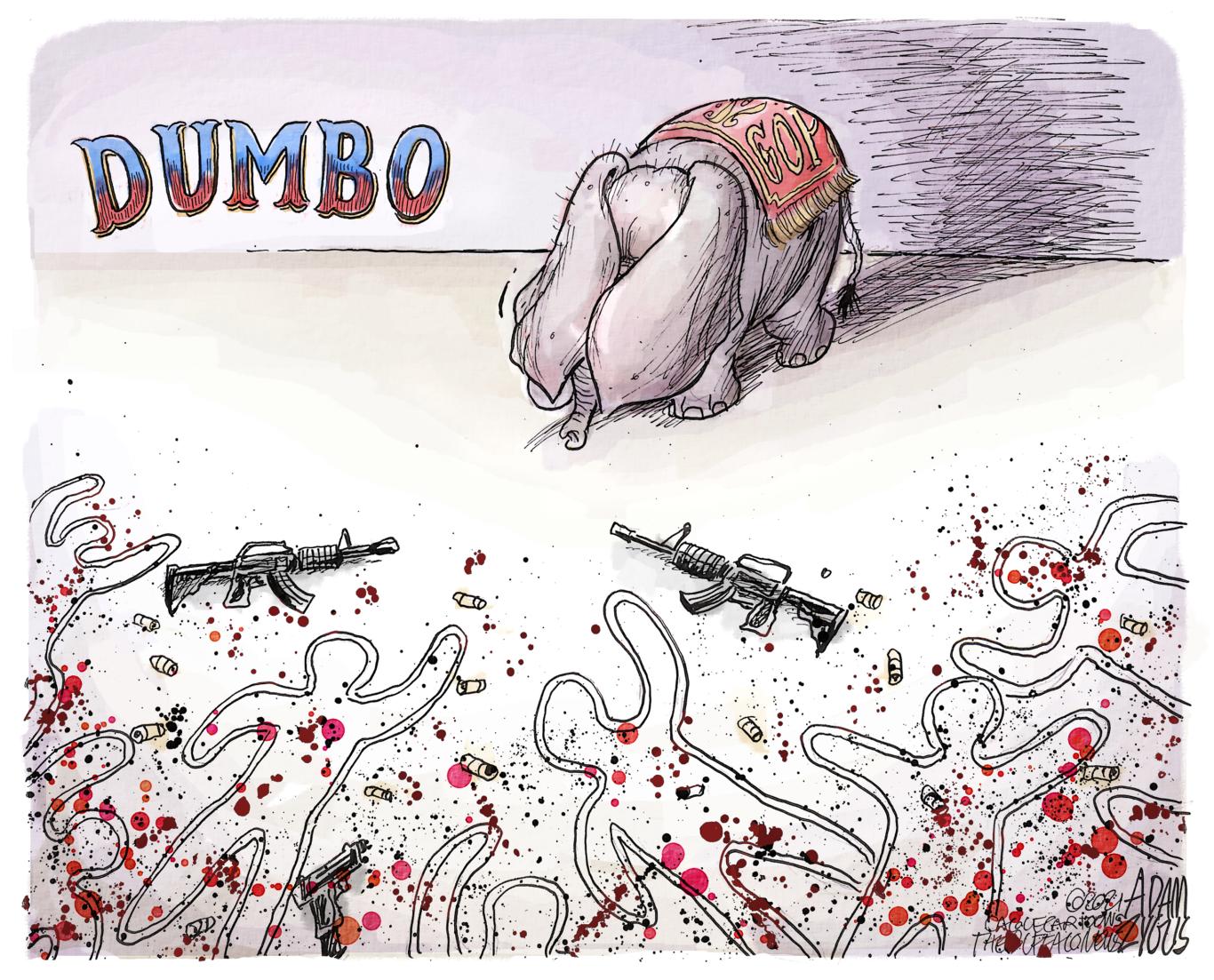 GOP, DUMBO, REPUBLICANS, ASSAULT WEAPONS, GUNS, VIOLENCE, MASS SHOOTINGS