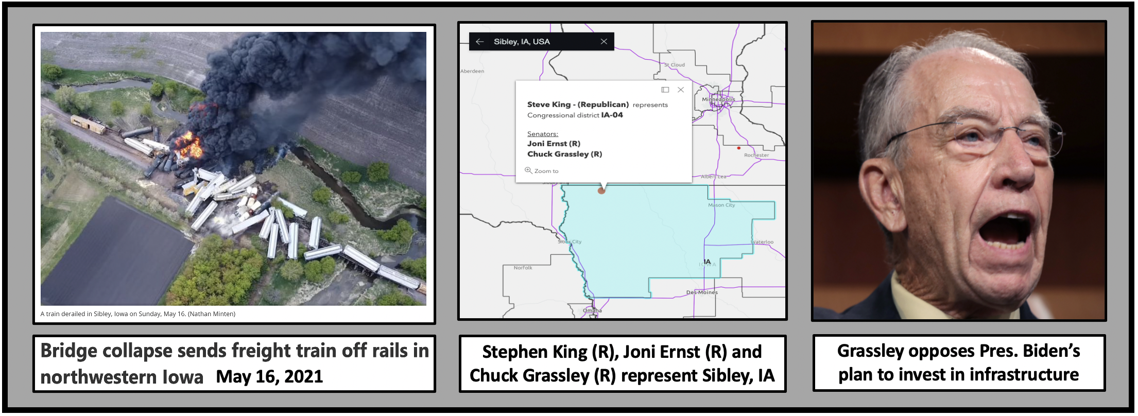 Chuck Grassley, Joni Ernst and Stephen King opposed President Biden's plan to invest in American Infrastructure.