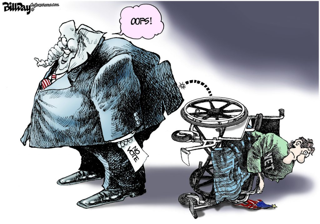 Republicans vote to cut benefits for the disabled, veterans and seniors.