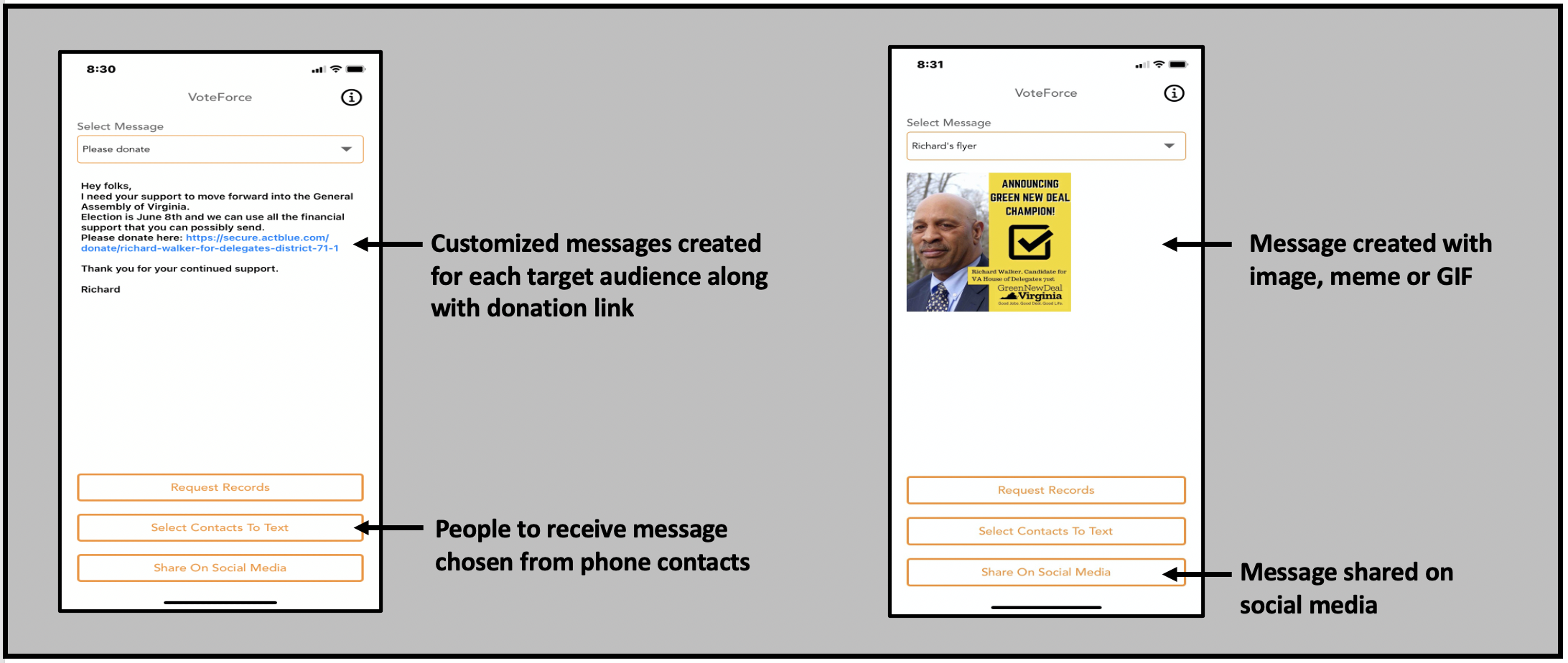 VoteForce creates customized texts that can include both texts, images, GIFs and memes.