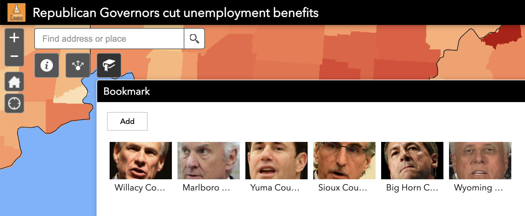 Bookmarks make it easy to navigate and find unemployment rates in counties