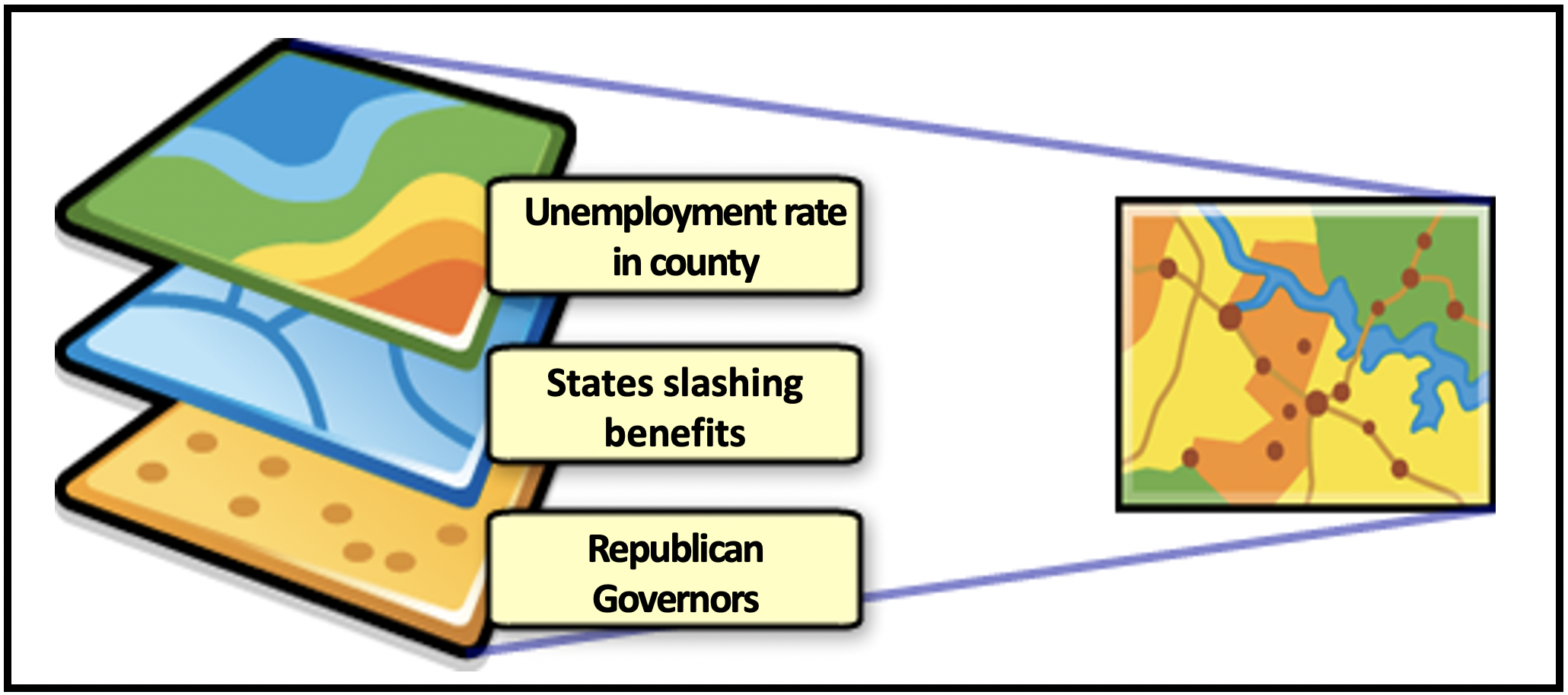 Map shows Republican Governors cutting unemployment benefits along with the unemployment rate in those counties.