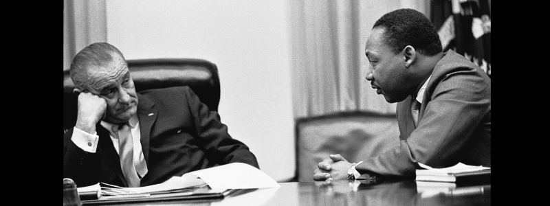 Martin Luther King Jr. speaks truth to power in Whitehouse meeting with Lyndon Johnson