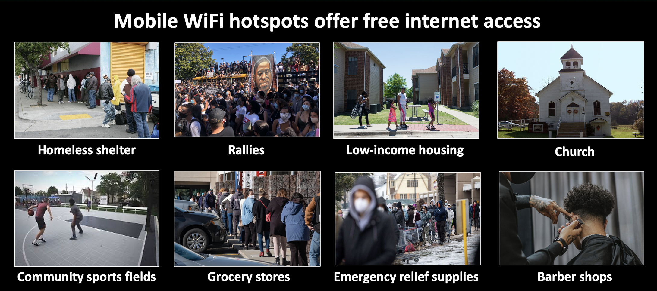 Mobile WiFi hotspots let organizers contact hard to reach communities.