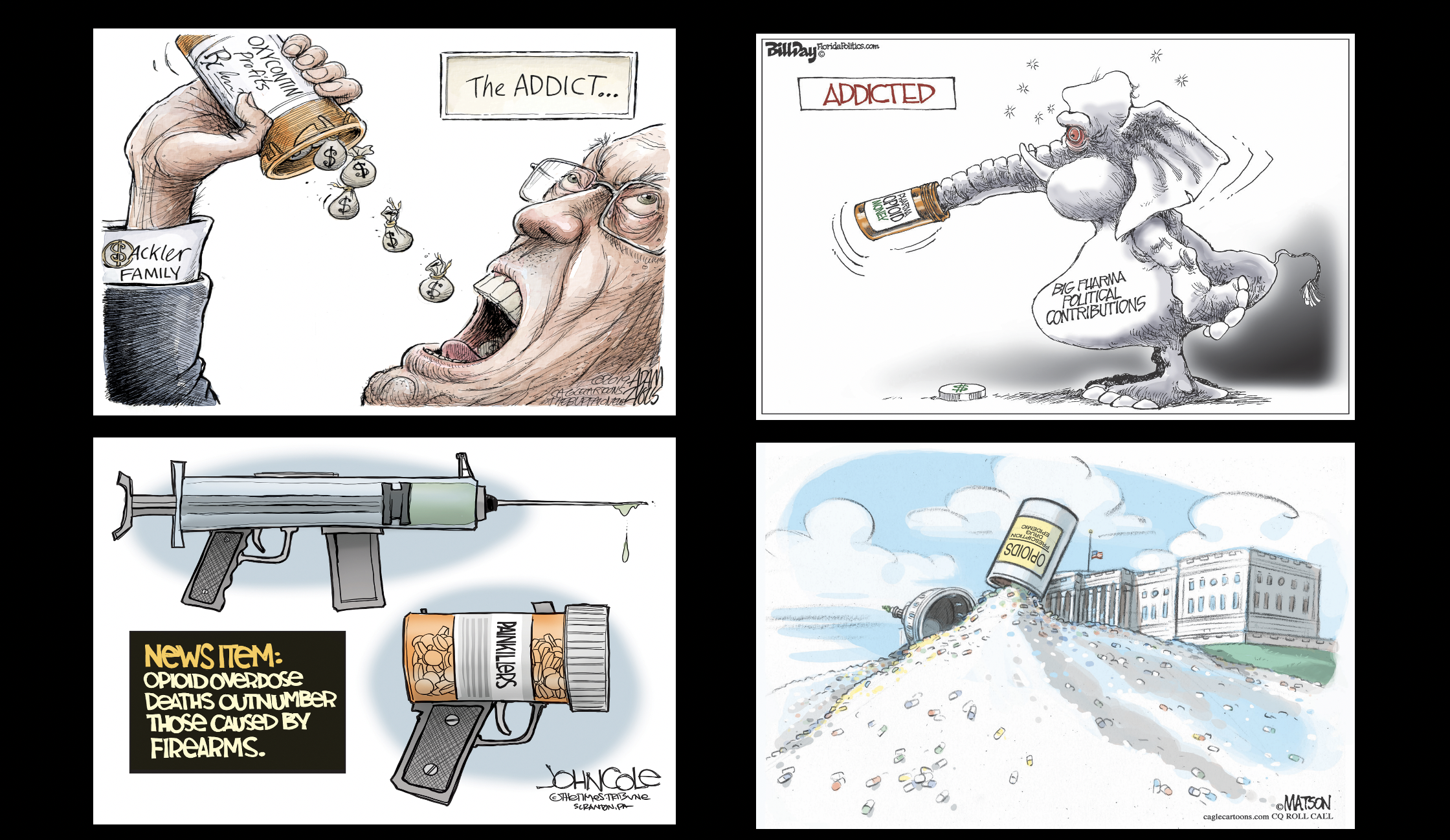 Political cartoons about the opioid crisis, Purdue Pharma and the Sakcler family.