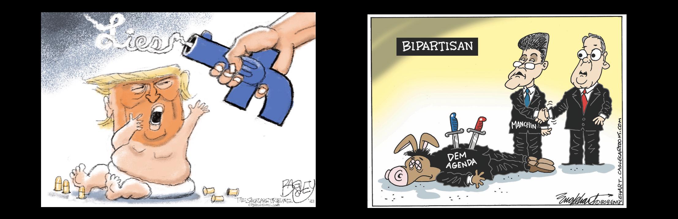 GOP Bipartisan Nonsense lampooned in Political Cartoons