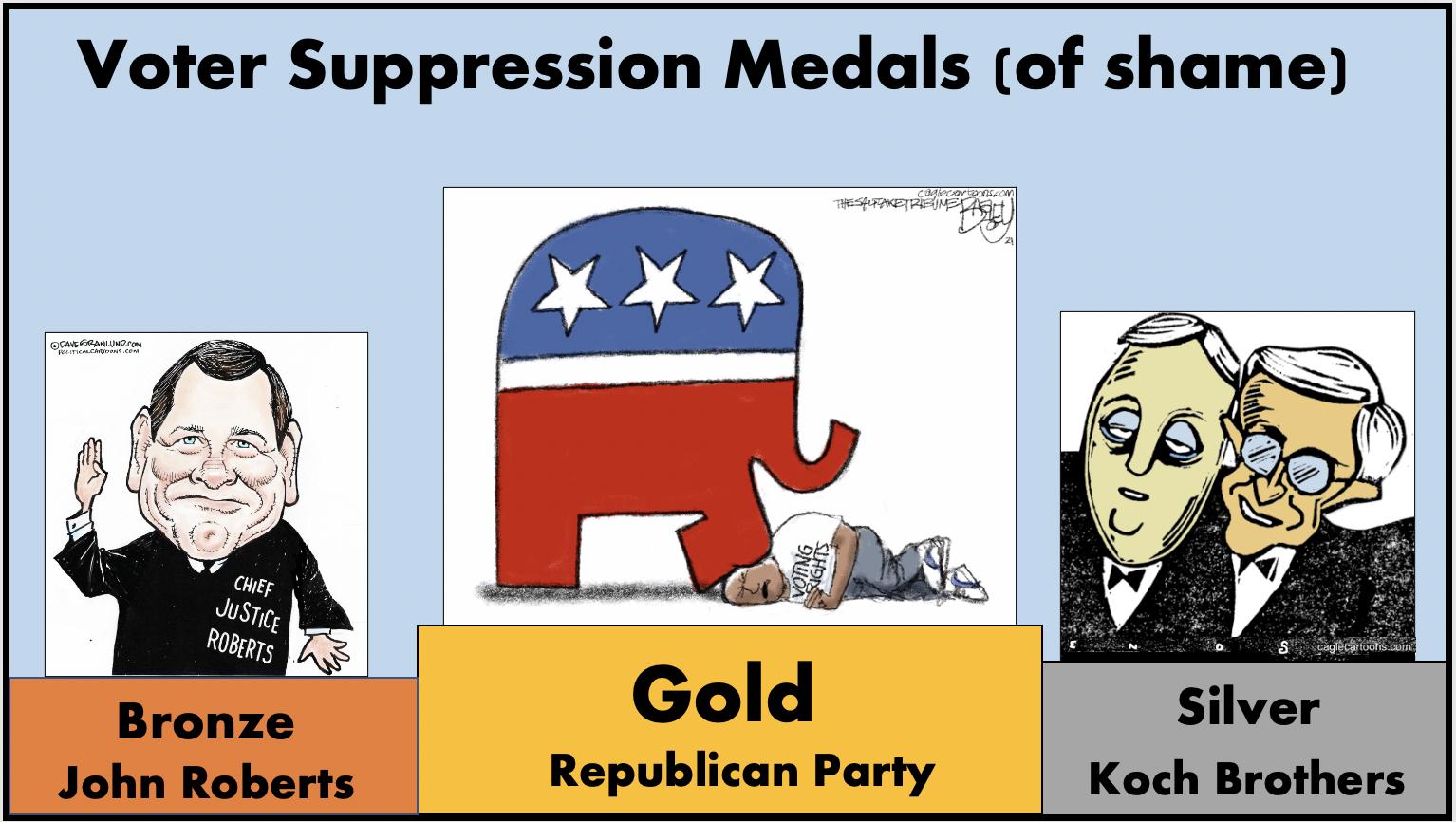 Voter suppression medals of shame