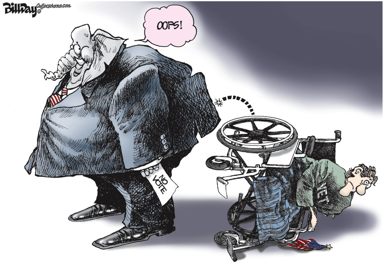 Republicans disenfranchise disabled, senior and veteran voters.
