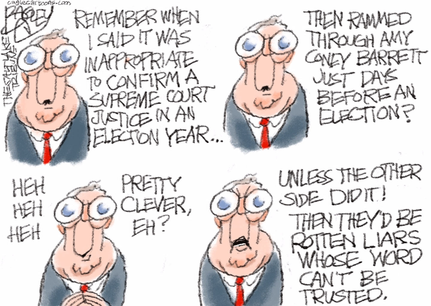 Mitch McConnell and the Republicans stack the Supreme Court. Roberts passed Citizens United that allows unlimited corporate political donations.