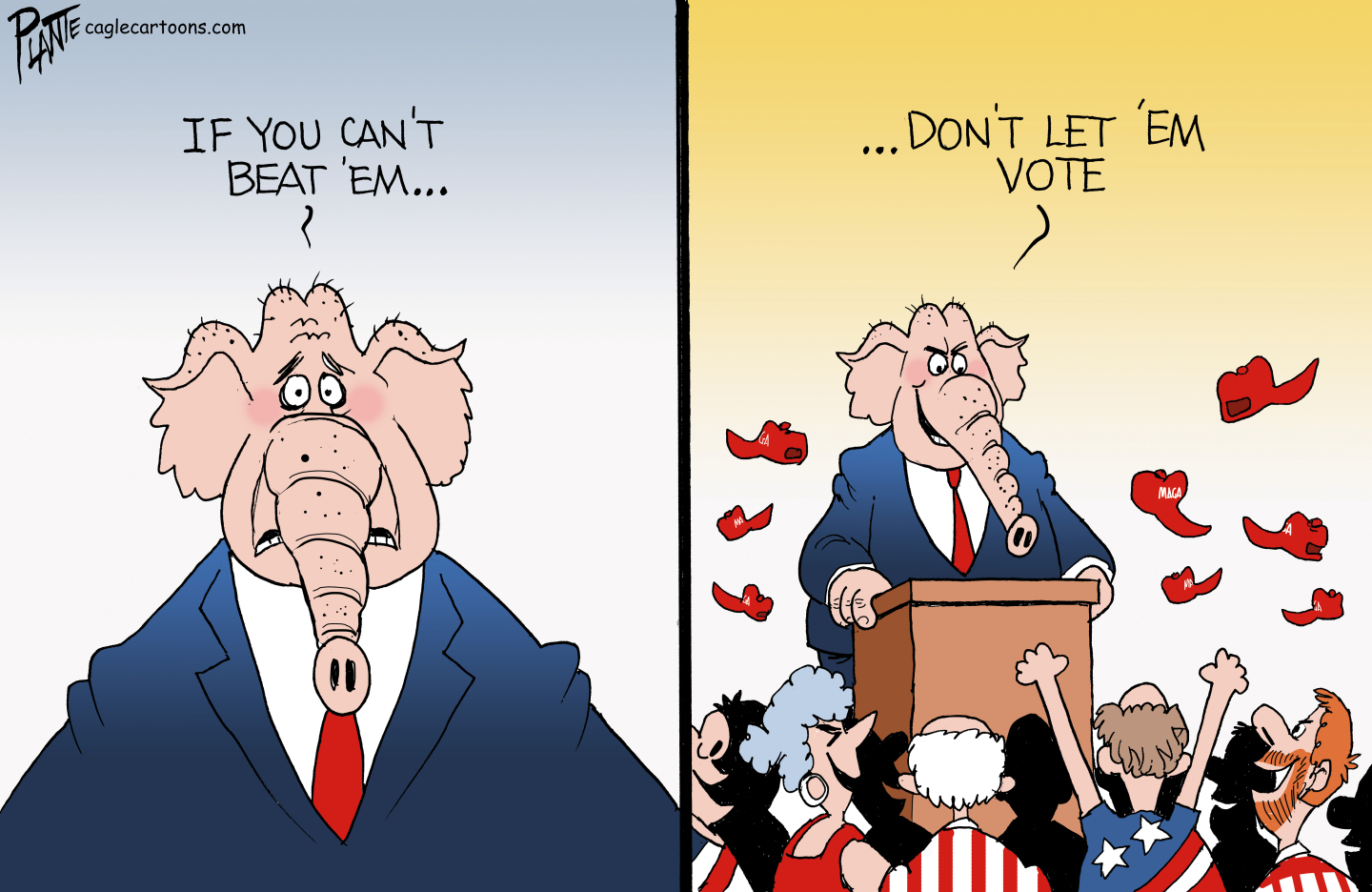Republicans resort to voter suppression to cling to power.