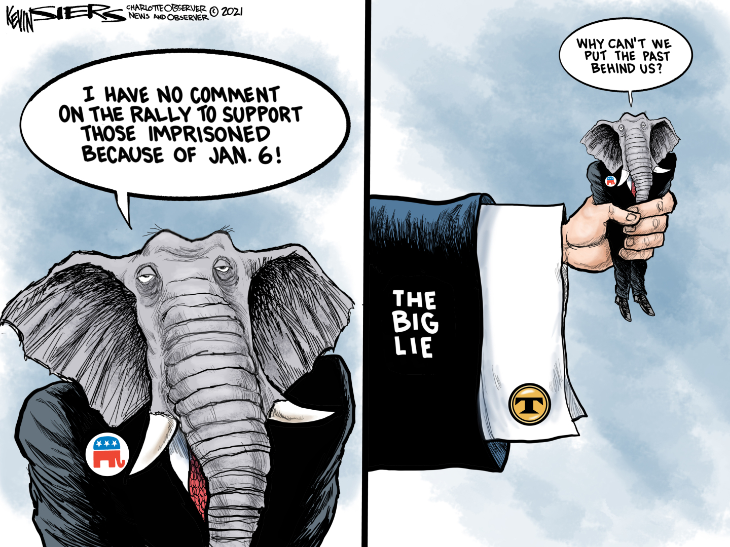 Republicans refuse to talk about th Jan 6th insurrection in Washington DC because they are trapped in the 'Big Lie'.