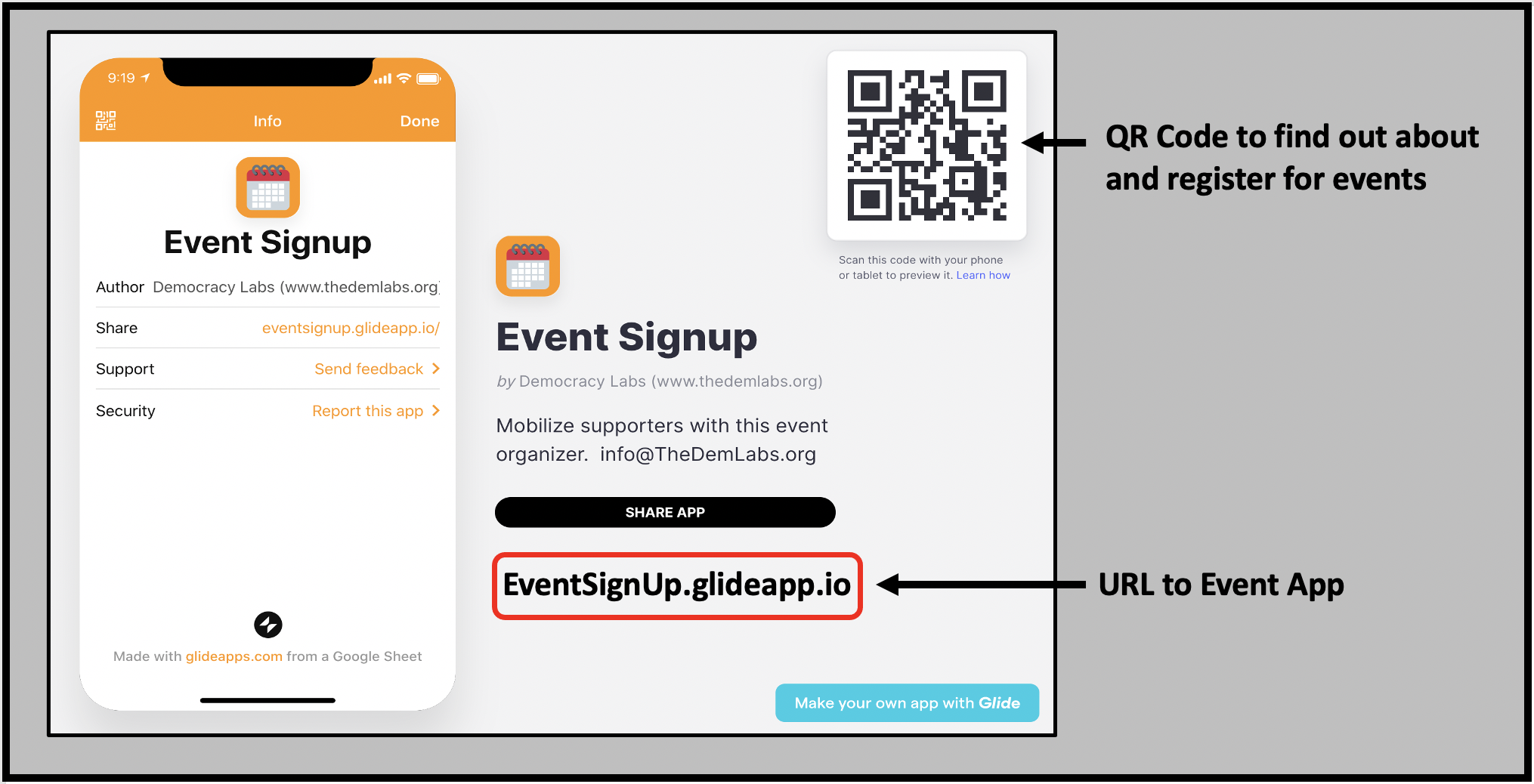 Use a link or QR code to share details about your event with the free Sign MeUp app.