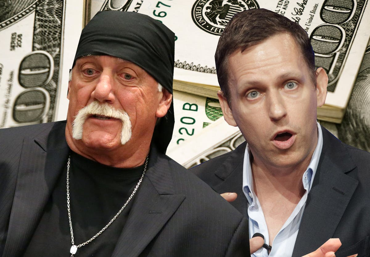 """""""Peter Thiel is secretly funding Hulk Hogan's lawsuit against Gawker Media, according to sources who spoke toForbesandThe New York Timeson the condition of anonymity."""" - Independent"""